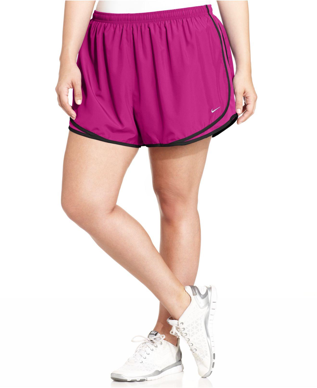 nike plus size tempo dri-fit track shorts in purple | lyst