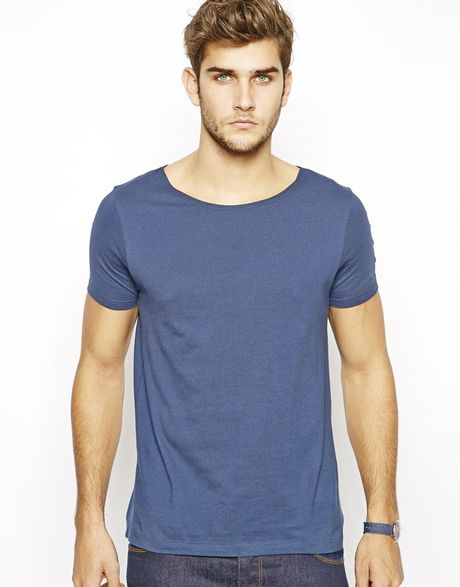 Asos T Shirt With Wide Boat Neck In Blue For Men