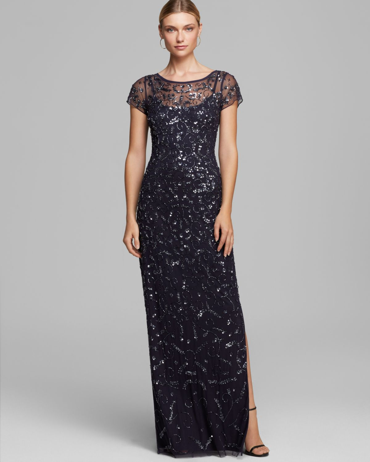 Aidan mattox Gown - Cap Sleeve Beaded in Blue | Lyst