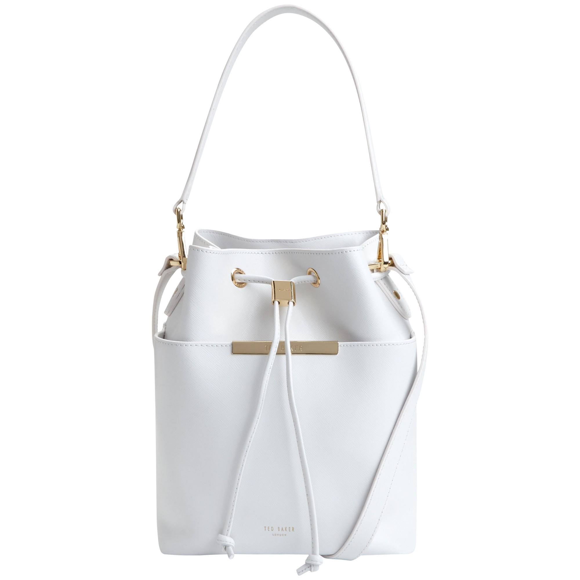 a6dee839d87b8 Ted Baker Adrene Mini Bucket Leather Across Body Bag in White - Lyst