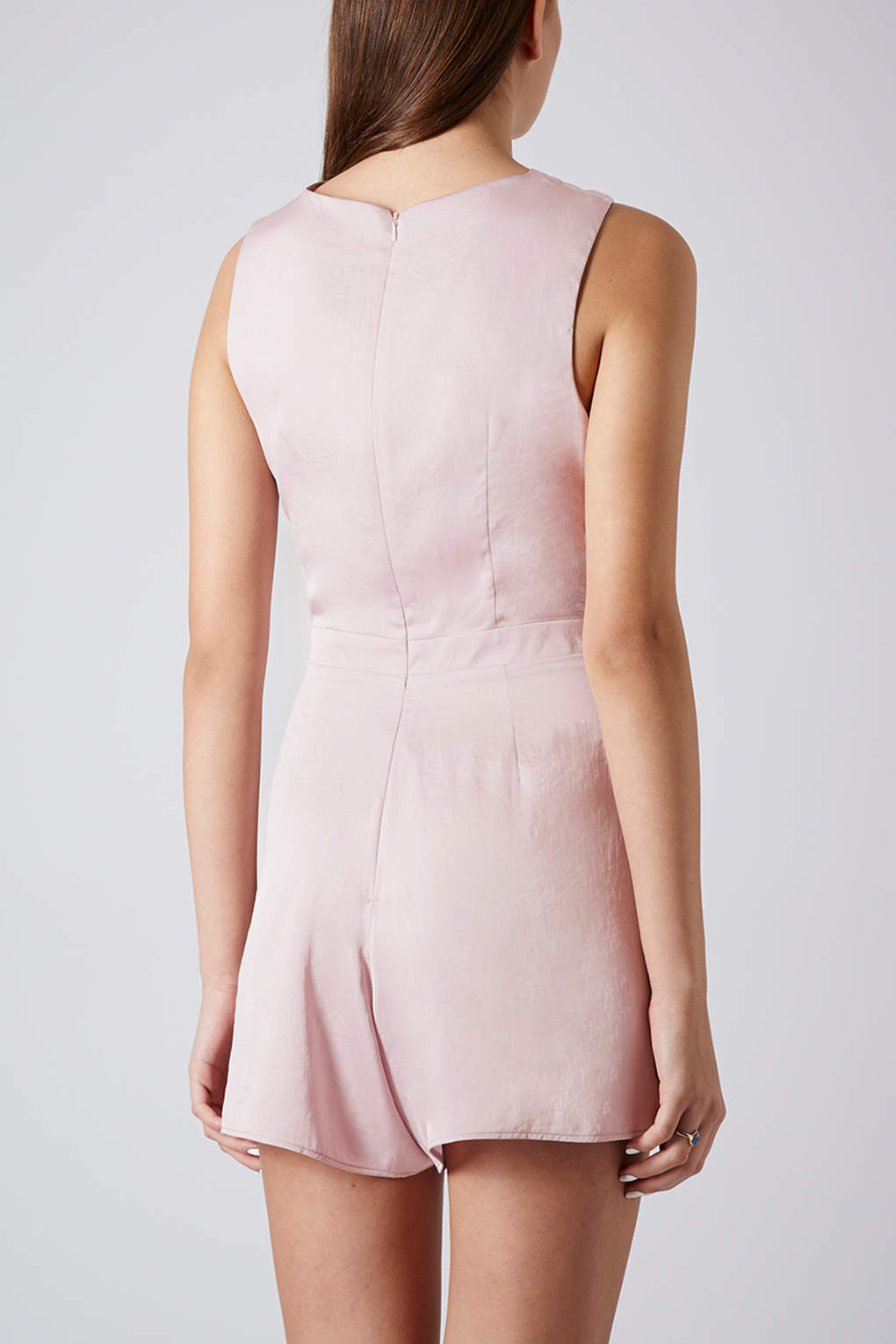 f0327fa5f4 Lyst - TOPSHOP Satin Cross Over Playsuit in Pink