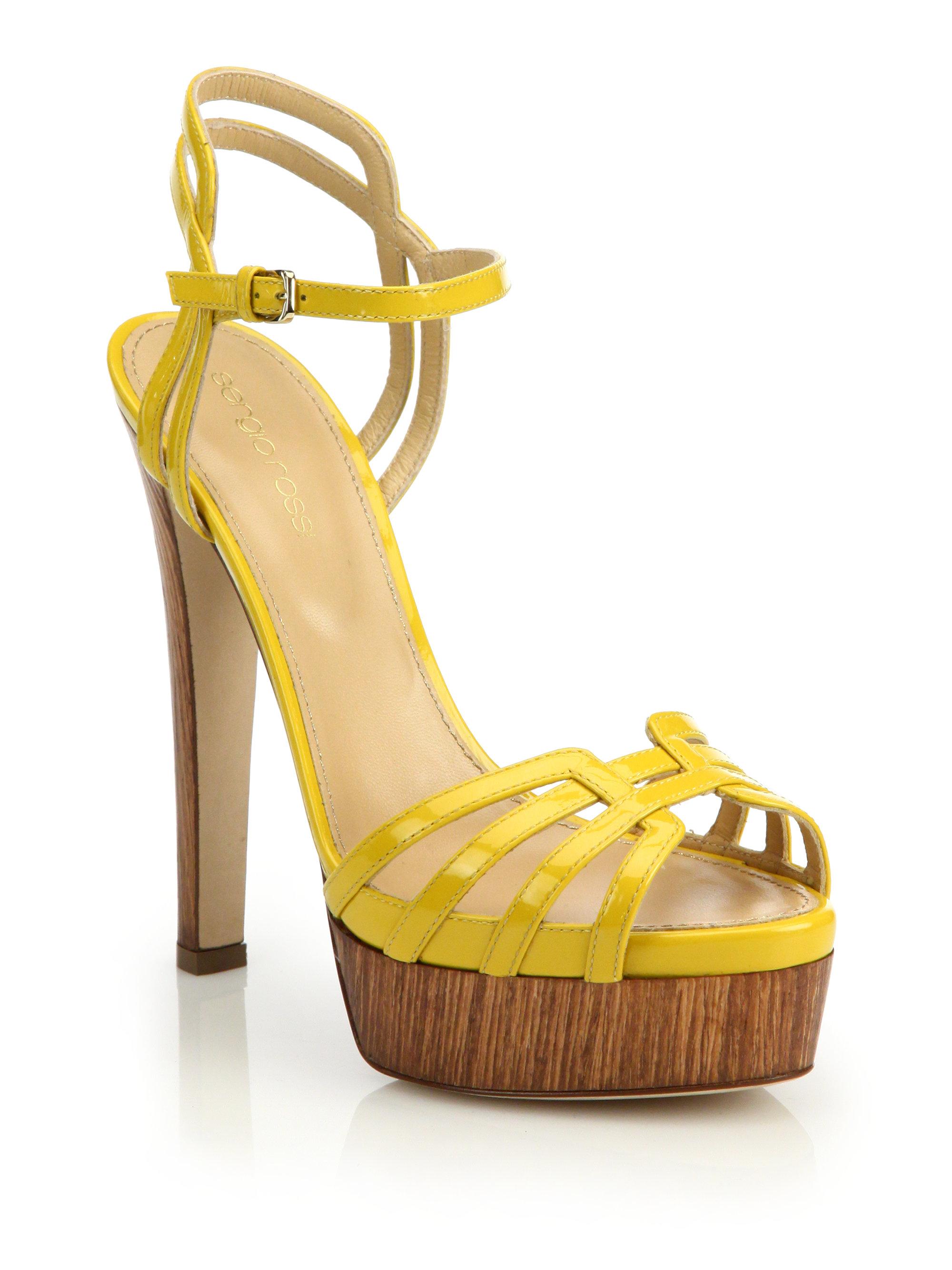 0e71c9e6476 Lyst - Sergio Rossi Paloma Patent Sandals in Yellow