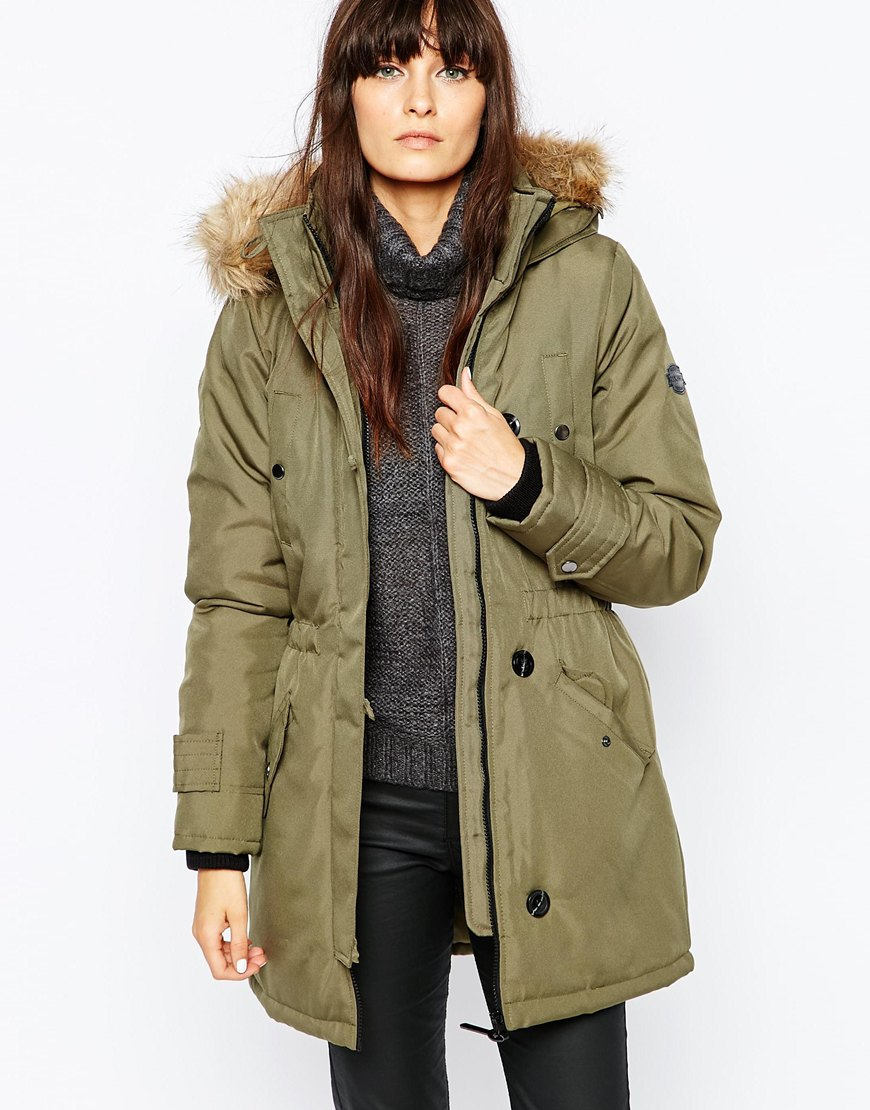 lyst vero moda parka with faux fur hood in green. Black Bedroom Furniture Sets. Home Design Ideas