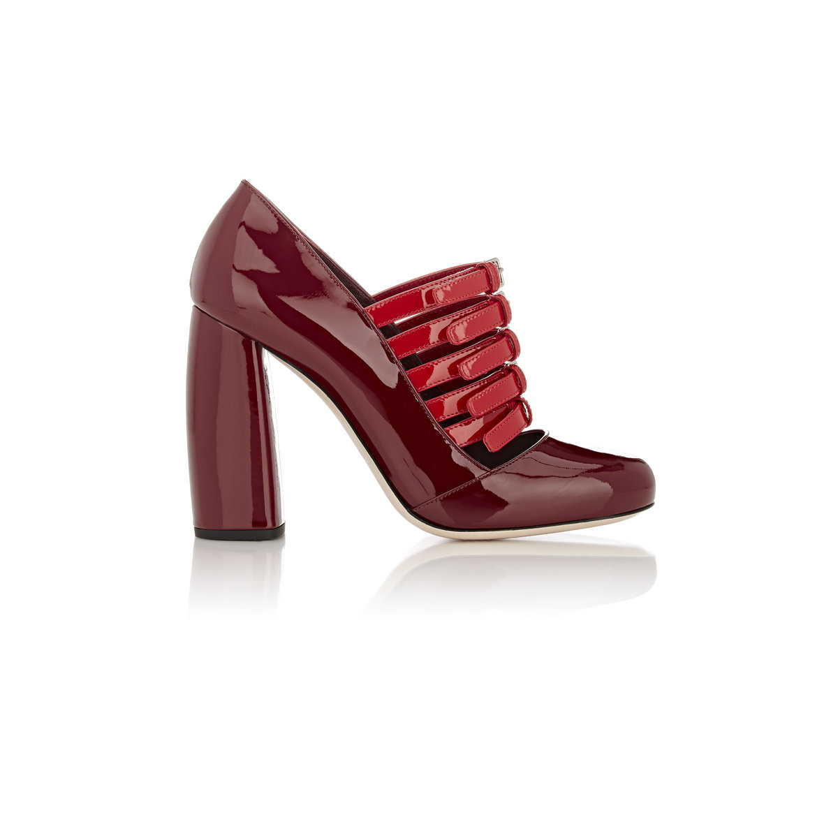 Rounded Toe Red Block Heel Shoes