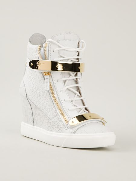 giuseppe zanotti hitop wedge sneakers in white lyst