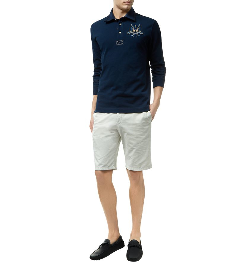 la martina elbow patch polo shirt in blue for men lyst. Black Bedroom Furniture Sets. Home Design Ideas
