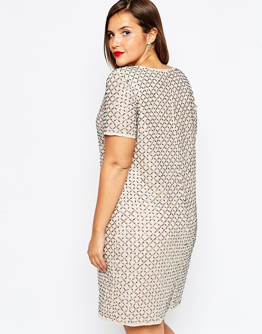5ef414df1b Lyst - ASOS Red Carpet Shift Dress With Diamond Embellishment in Pink