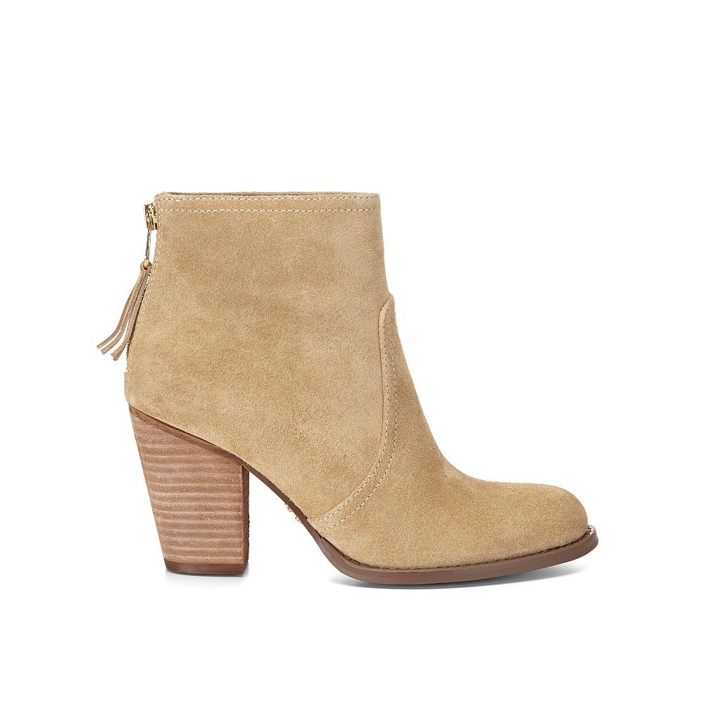 c suede ankle boot in beige lyst
