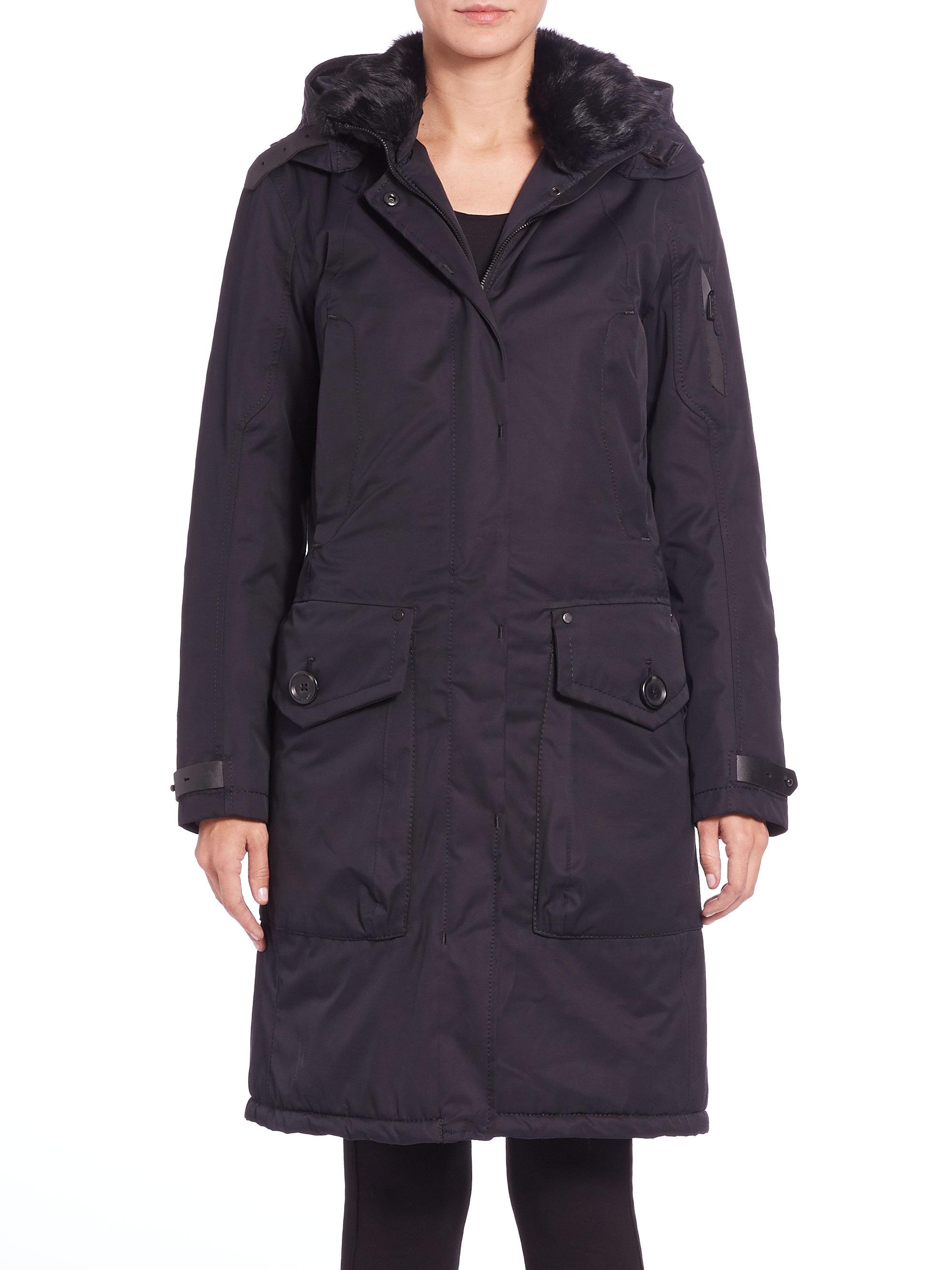 lyst g lab whistler fur collar coat in blue. Black Bedroom Furniture Sets. Home Design Ideas