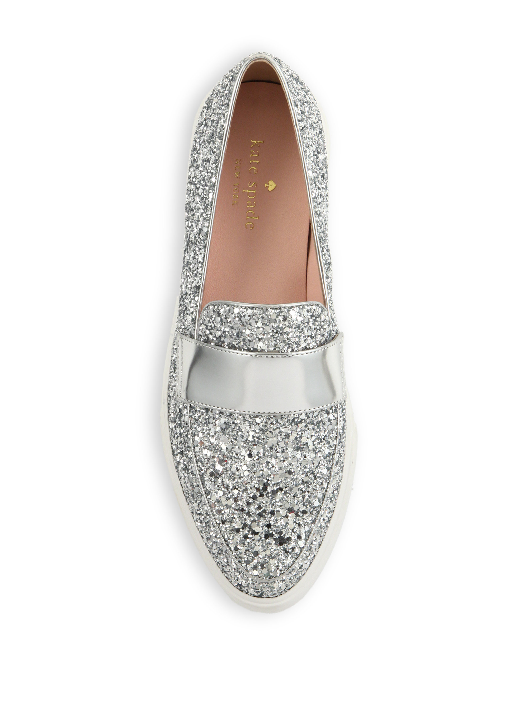 7d55fea53f75 Lyst - Kate Spade Clover Glittered Leather Slip-on Sneakers in Metallic