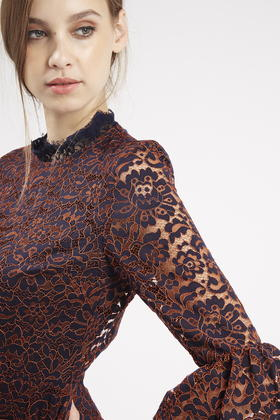 568203320c8ab TOPSHOP Bell Sleeve Lace Dress in Blue - Lyst