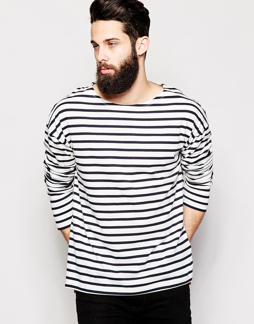 Asos oversized striped long sleeve t shirt with boat neck Striped long sleeve t shirt