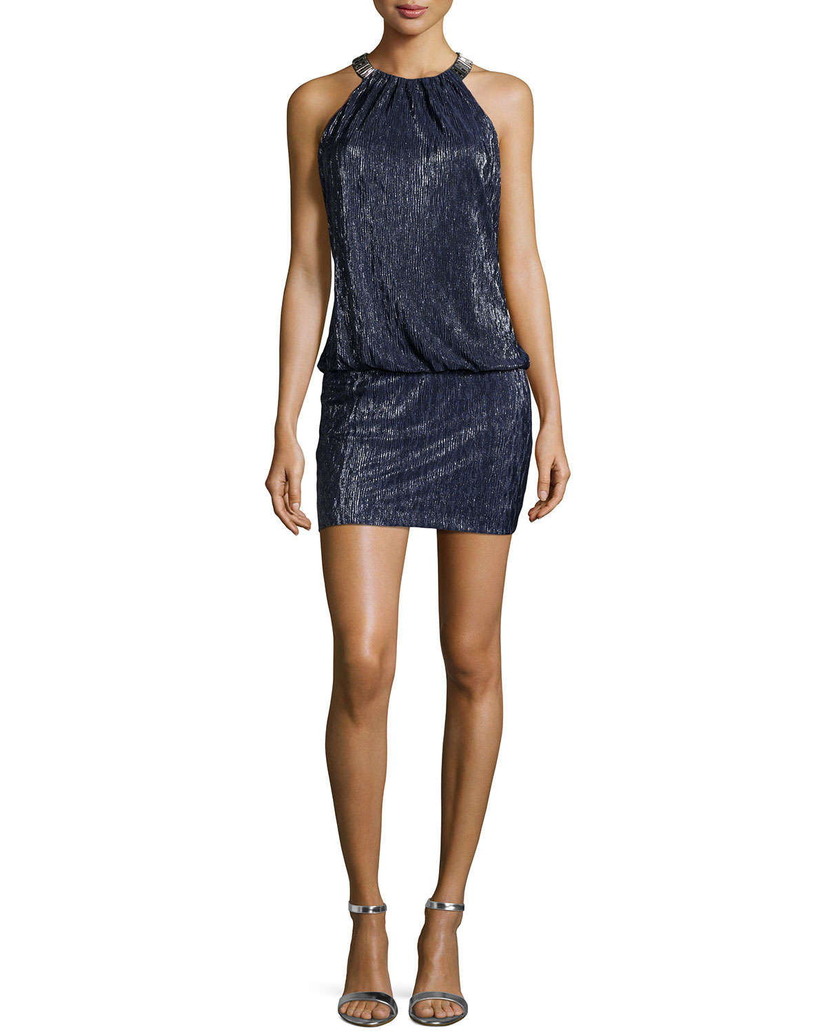 Lyst Laundry By Shelli Segal Metallic Mini Dress In Blue