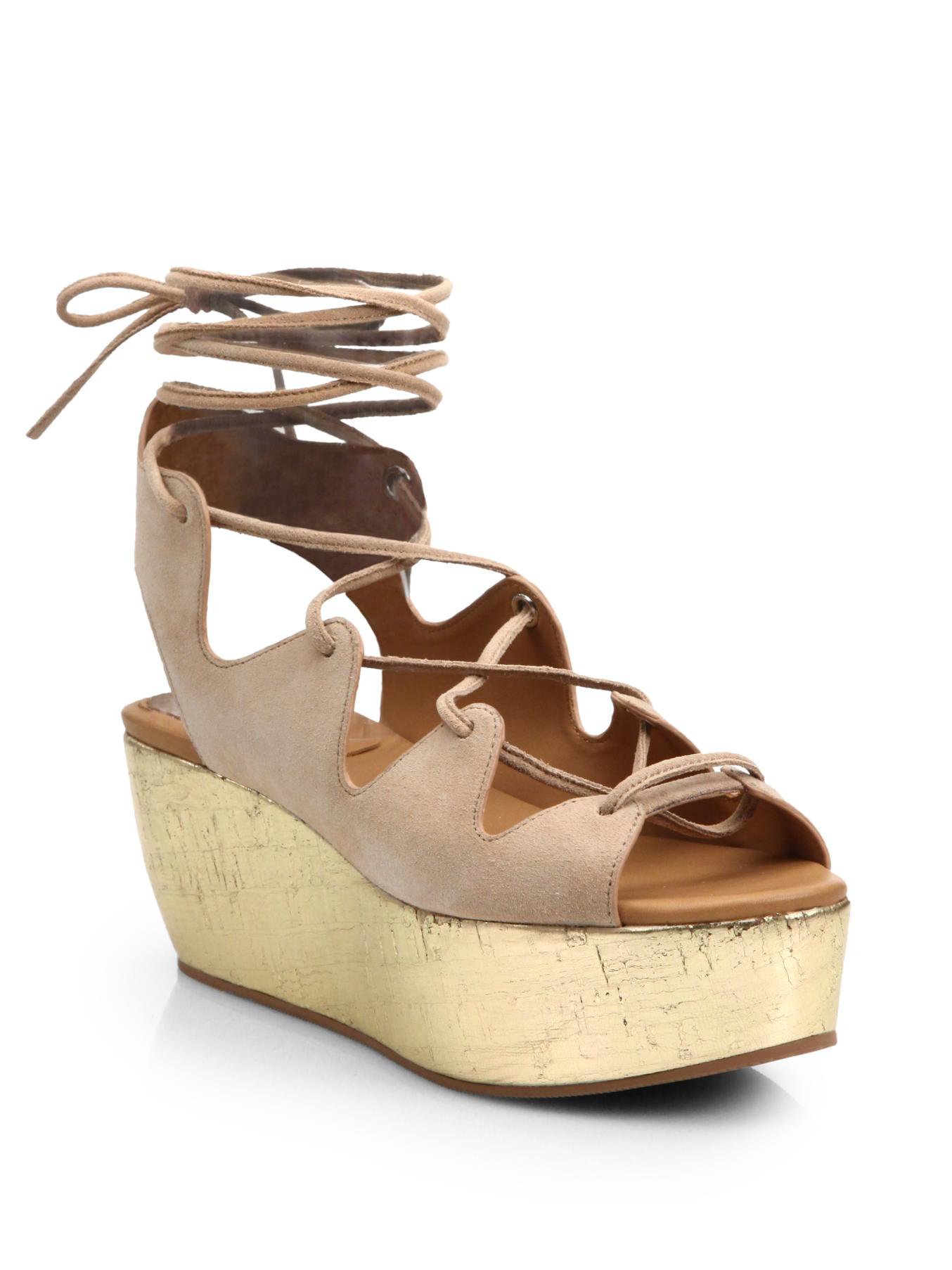 9d6476b346f Lyst - See By Chloé Lace-Up Metallic Leather   Suede Platform ...