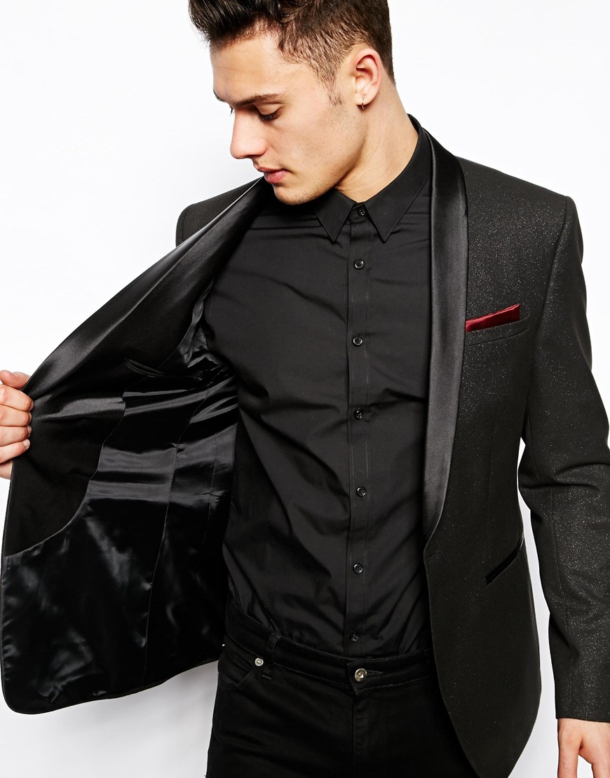 Asos Skinny Fit Party Blazer In Silver Fleck in Black for Men | Lyst