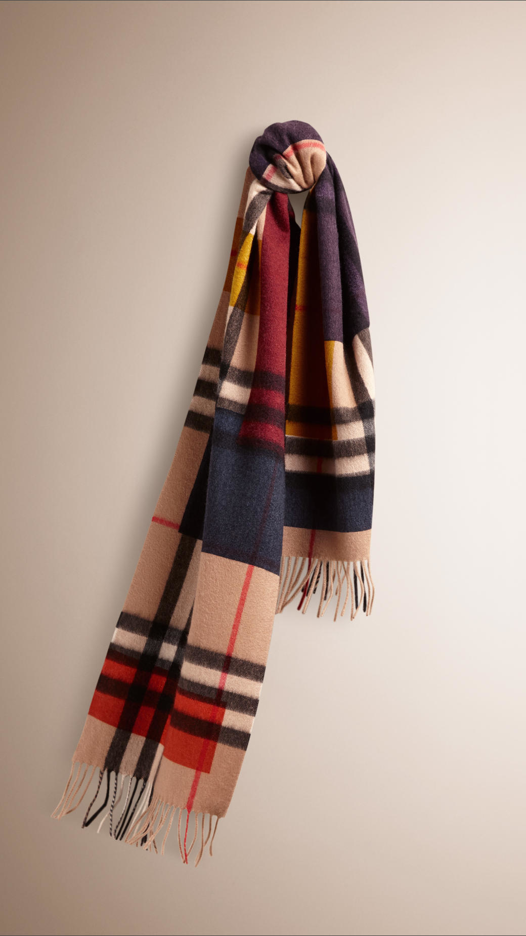 burberry colour block check scarf in lyst