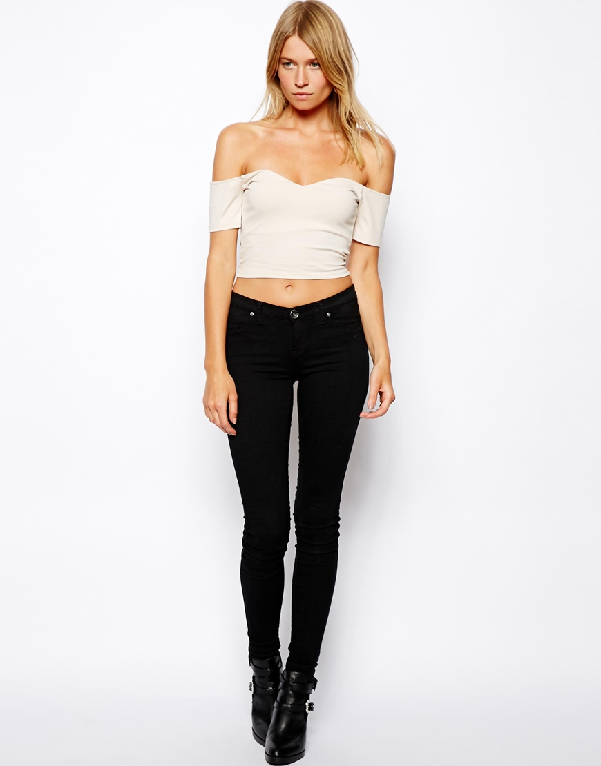 ef2a49f20bc ASOS Crop Top with Sweetheart Neck and Off Shoulder in Natural - Lyst
