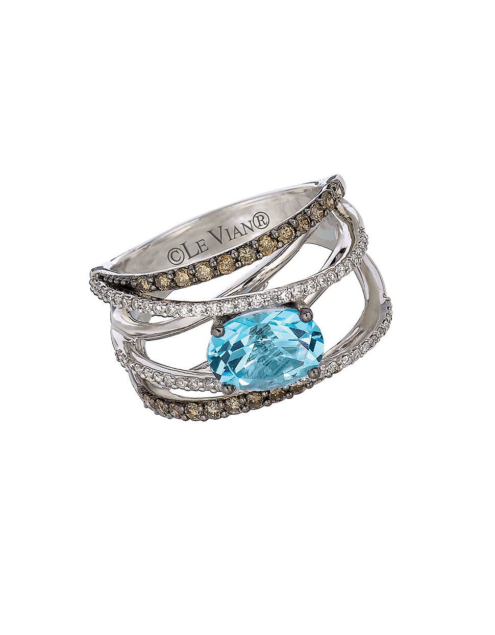 Le Vian Blue Topaz Ring Chocolate Diamonds K Vanilla Gold
