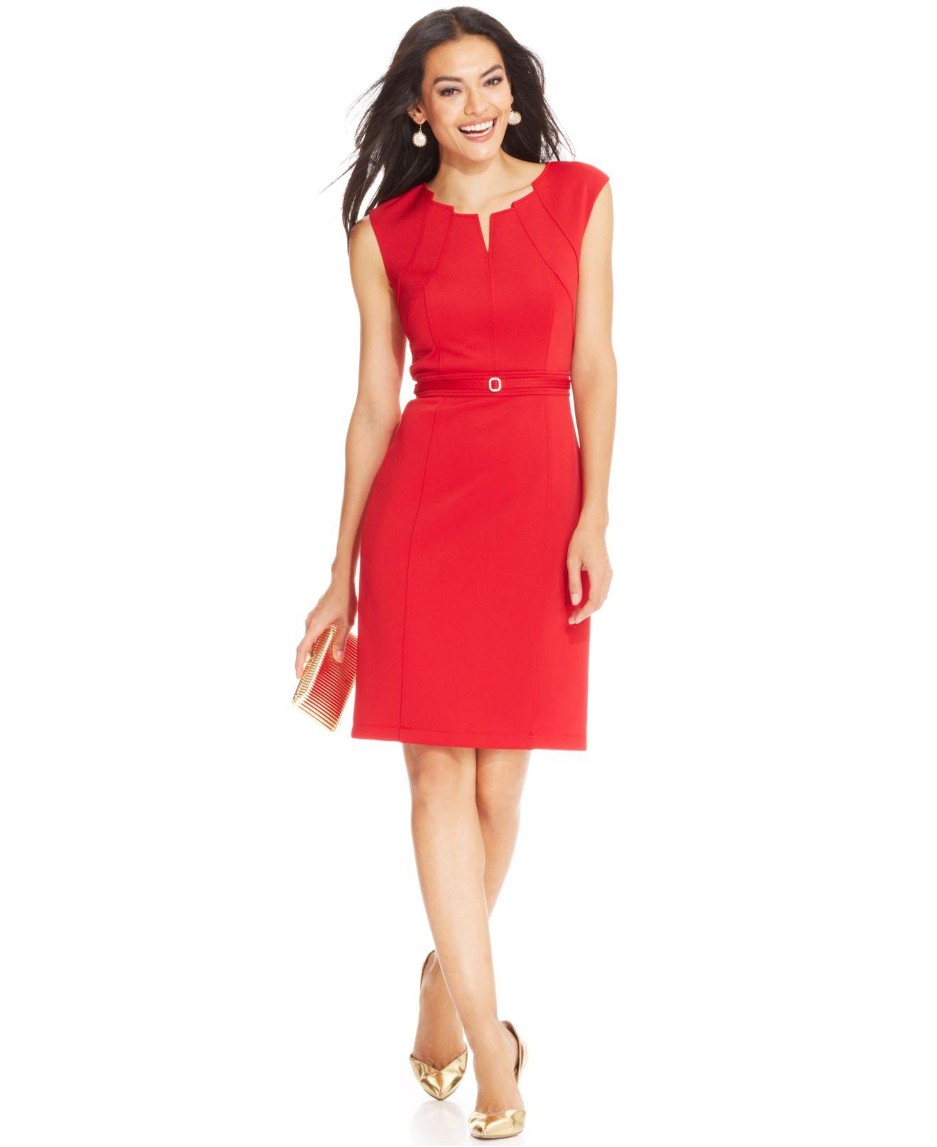 Ellen tracy Cap-sleeve Embellished Belted Sheath in Red | Lyst