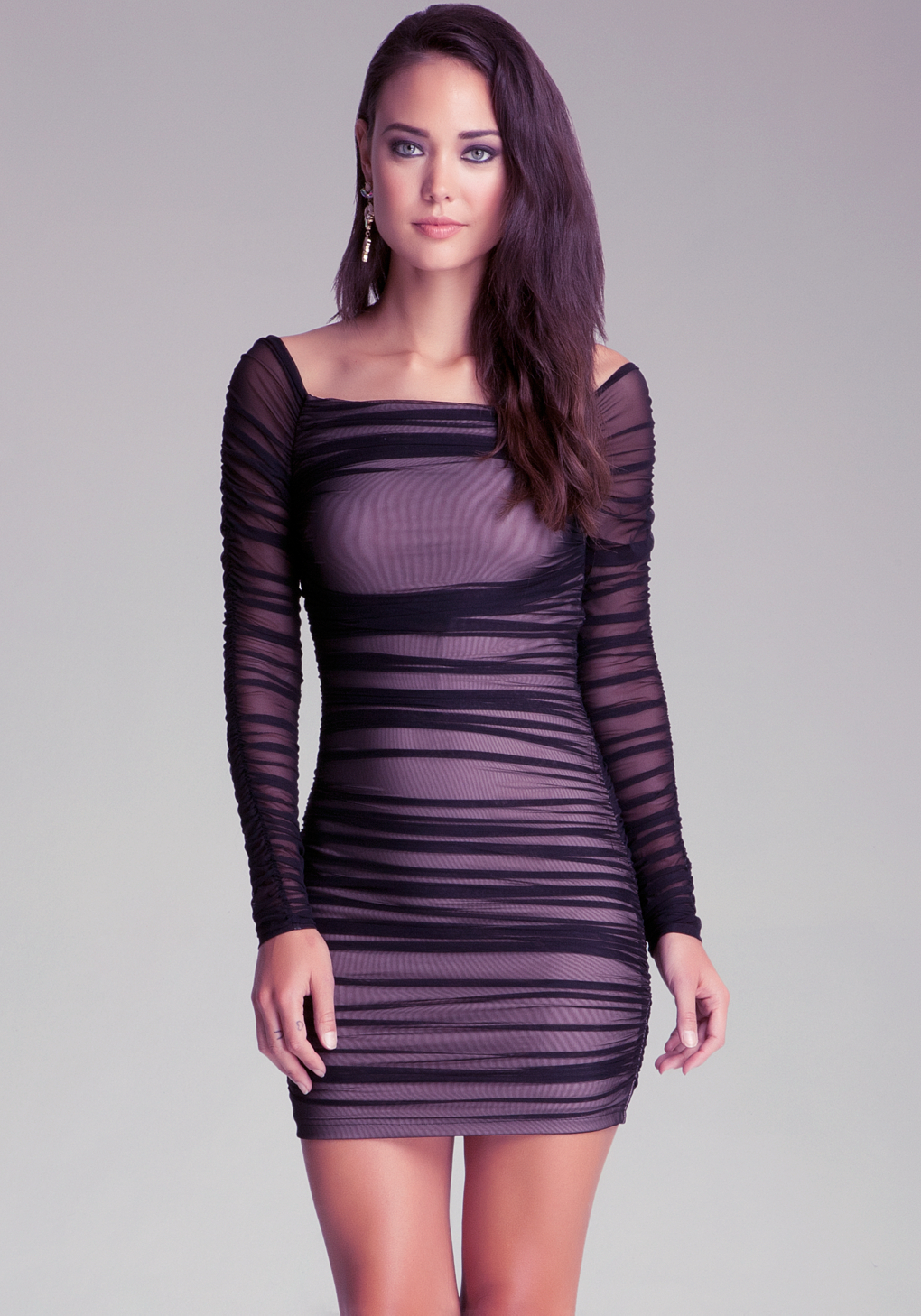 Bebe Off Shoulder Shirred Mesh Dress In Black Lyst