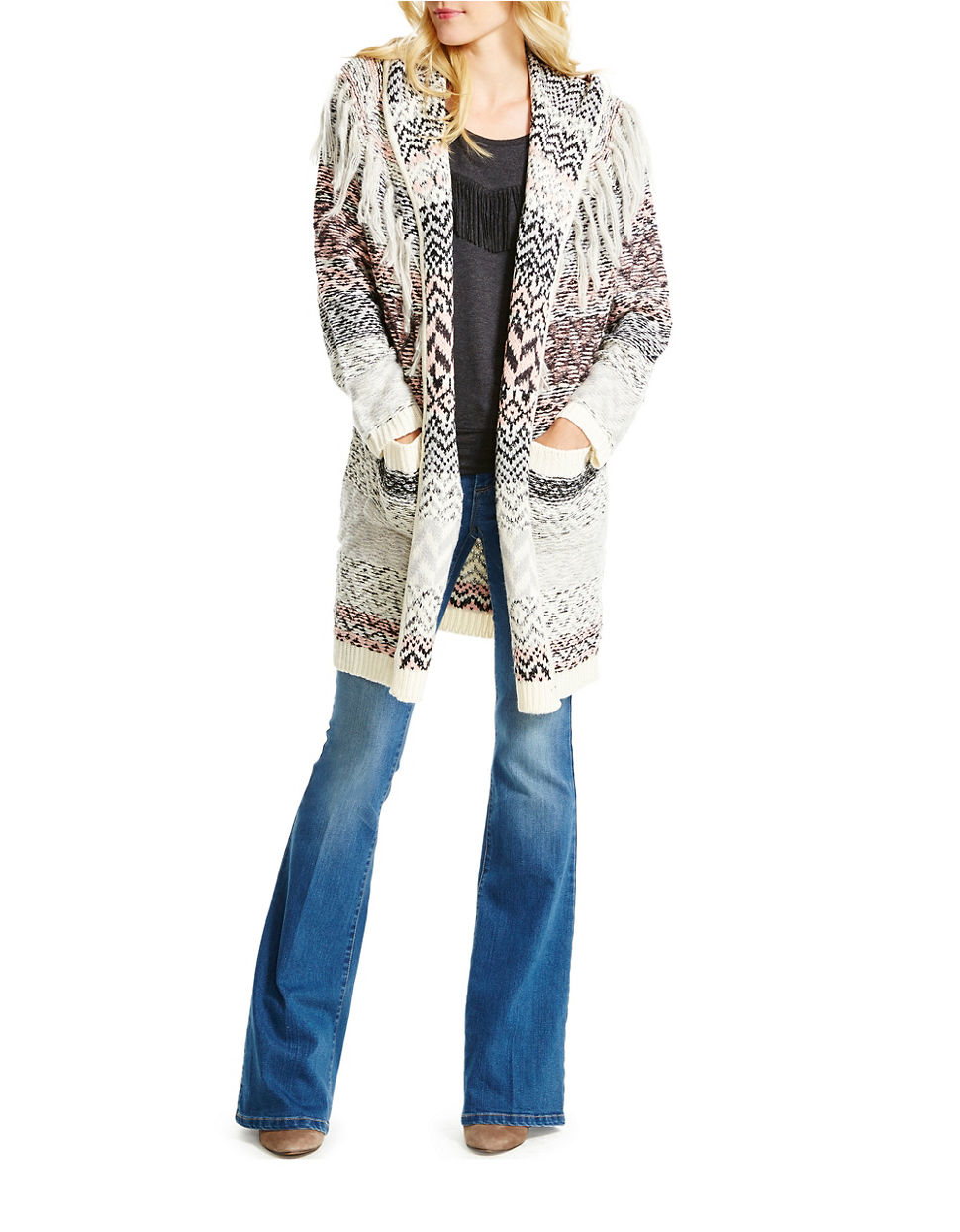 Jessica simpson Thistle Cozy Hooded Sweater Coat in Gray   Lyst