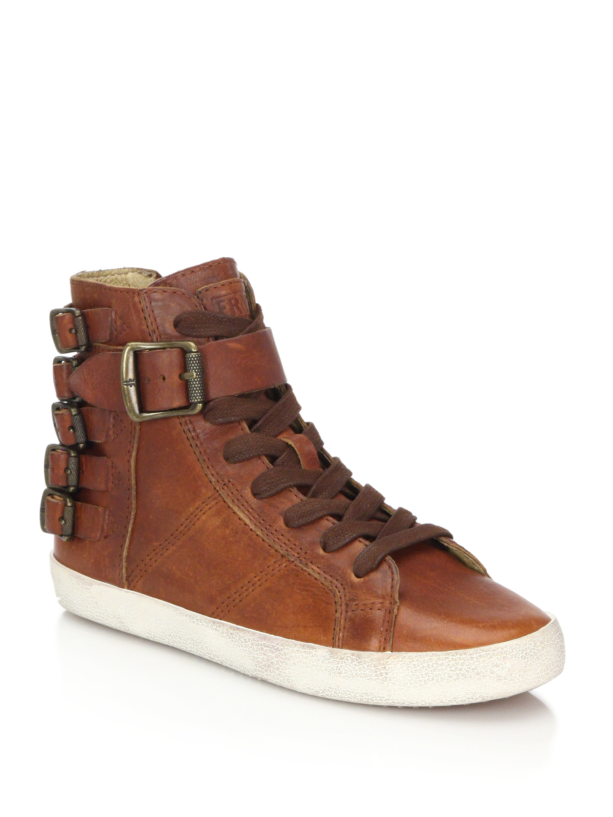 Frye Dylan Belted Leather Sneakers In Brown Lyst