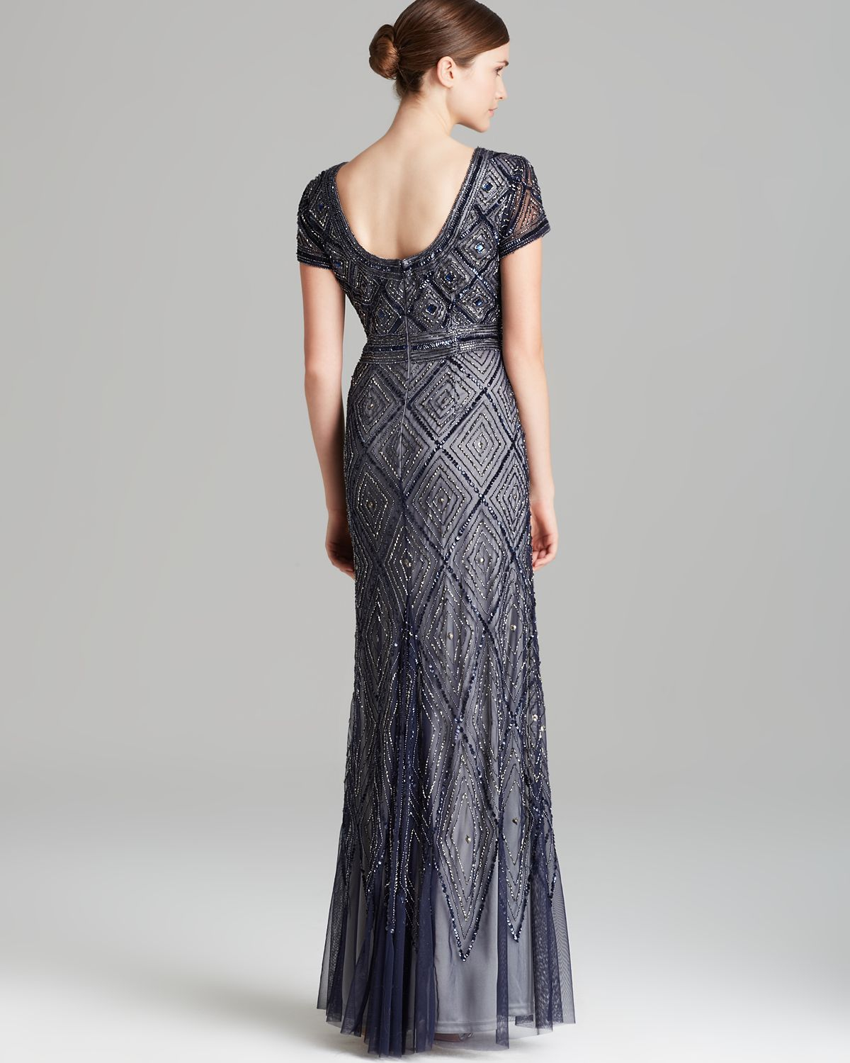 Adrianna Papell Gown Short Sleeve Deco Diamond Beaded In
