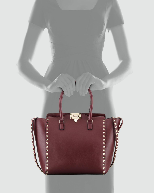 c0f6d16202 Lyst - Valentino Rockstud Double-Handle Shopper Tote Bag in Purple