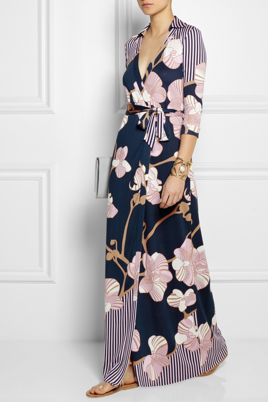 Dvf Abigail Print Silk Wrap Maxi Dress View Fullscreen
