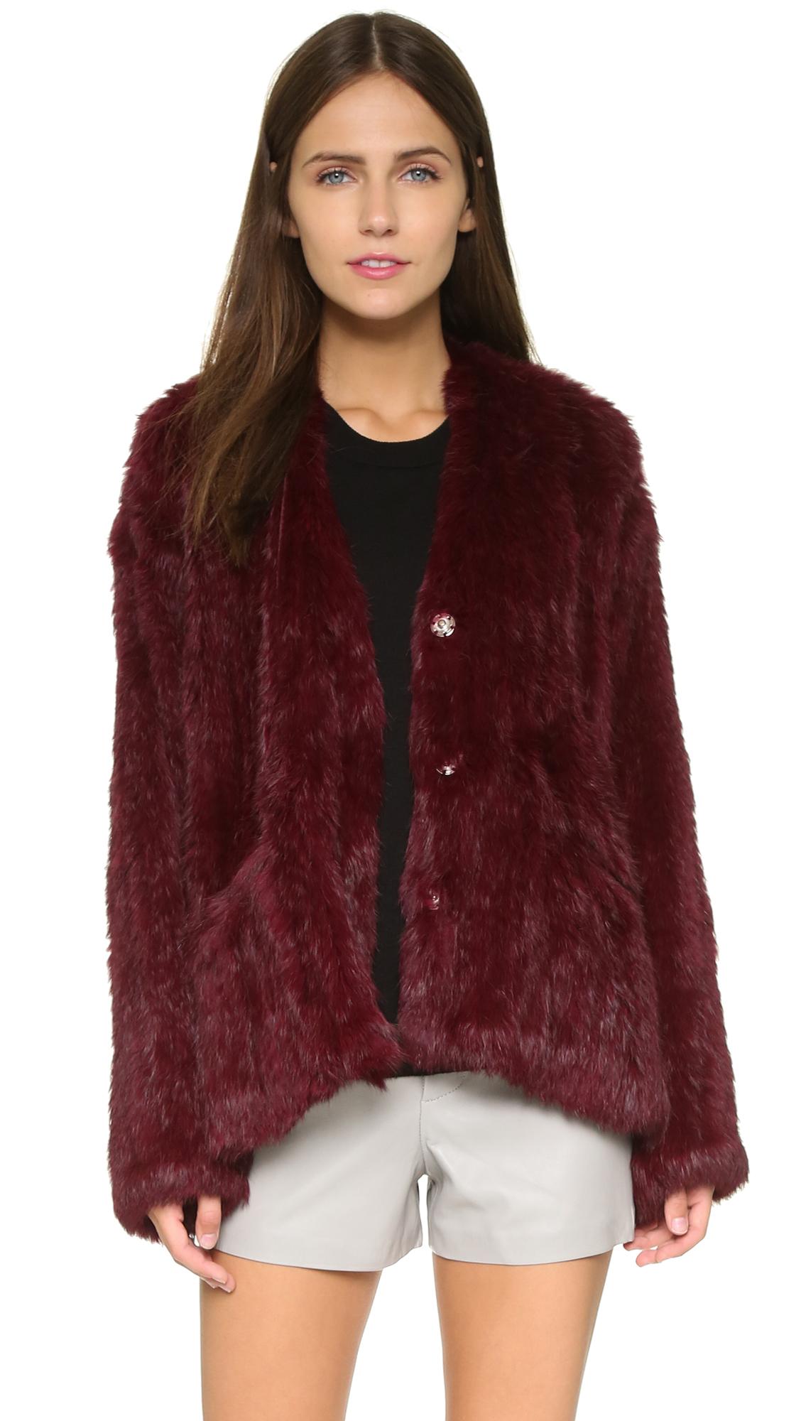 lyst elizabeth and james collarless bianca fur jacket merlot in purple. Black Bedroom Furniture Sets. Home Design Ideas