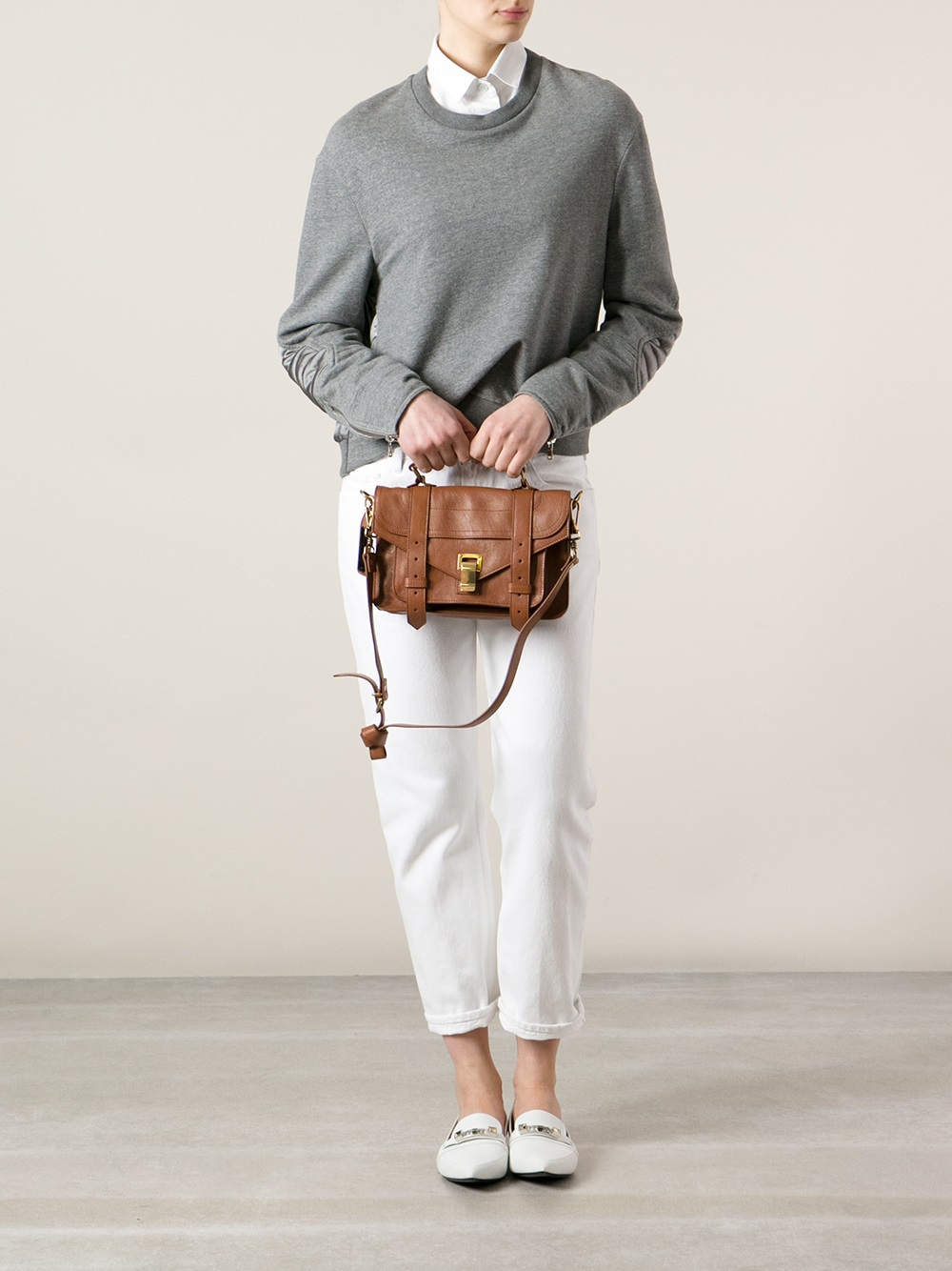 Lyst Proenza Schouler Ps1 Tiny Saddle Satchel In Brown