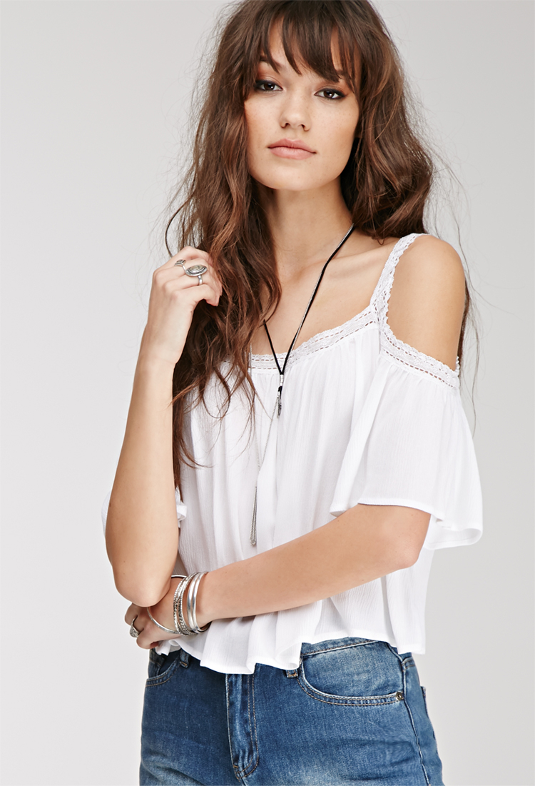 0def93567ee208 Forever 21 Lace-trimmed Off-the-shoulder Top in White - Lyst