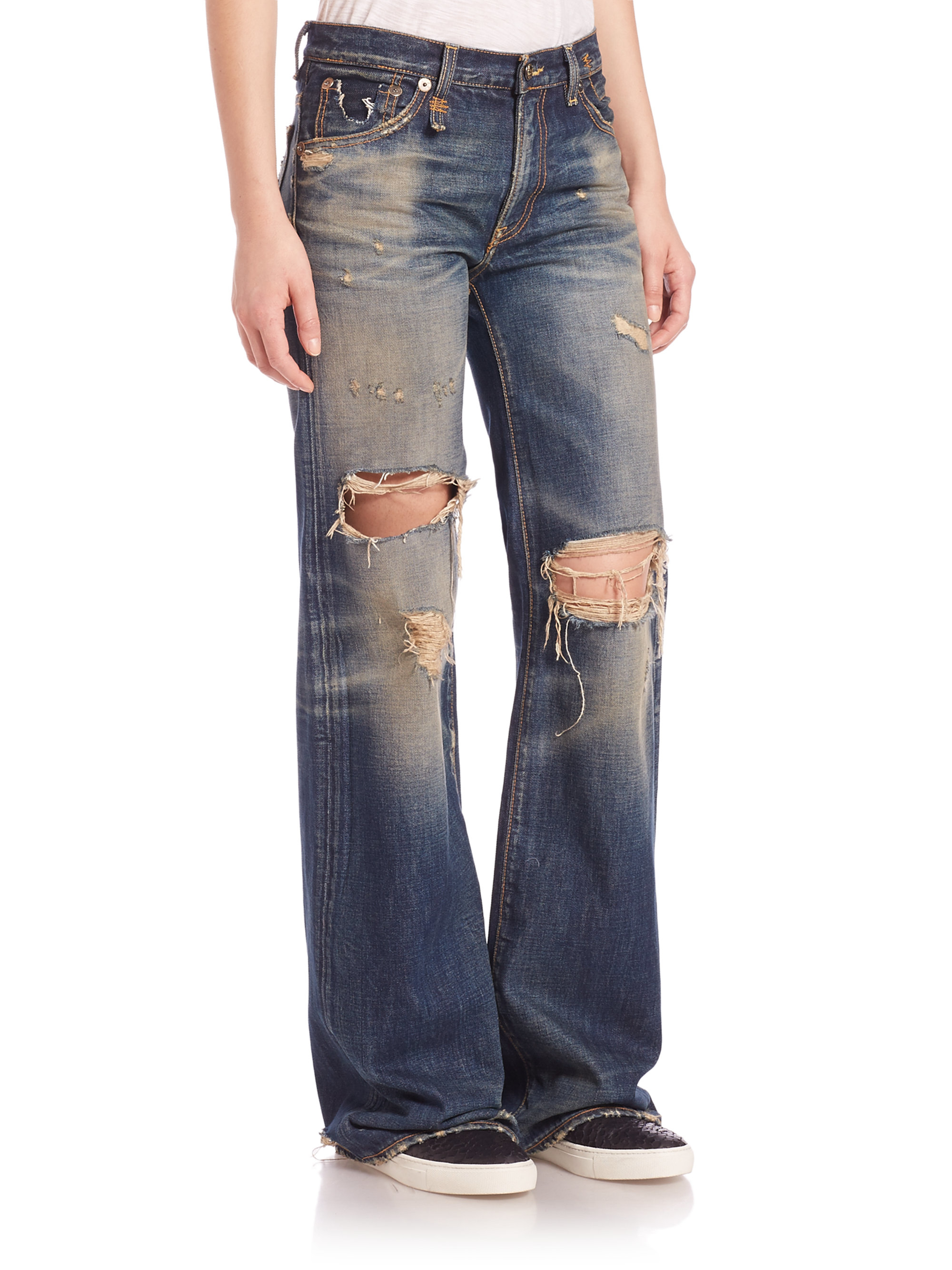 distressed wide-leg cropped jeans - Blue R13 Free Shipping Sale For Sale Online Outlet 2018 Cheap Sale Buy j4lLSx2