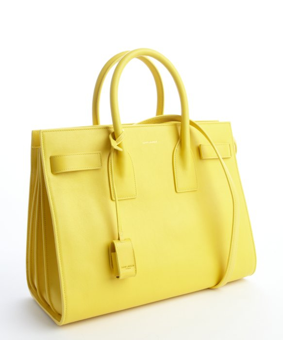 yves saint laurent faux - classic baby sac de jour bag in yellow leather