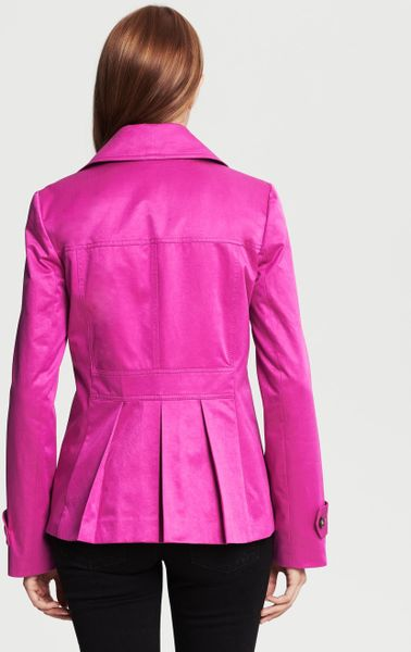 Banana Republic Pink Short Trench In Purple Raspberry Lyst