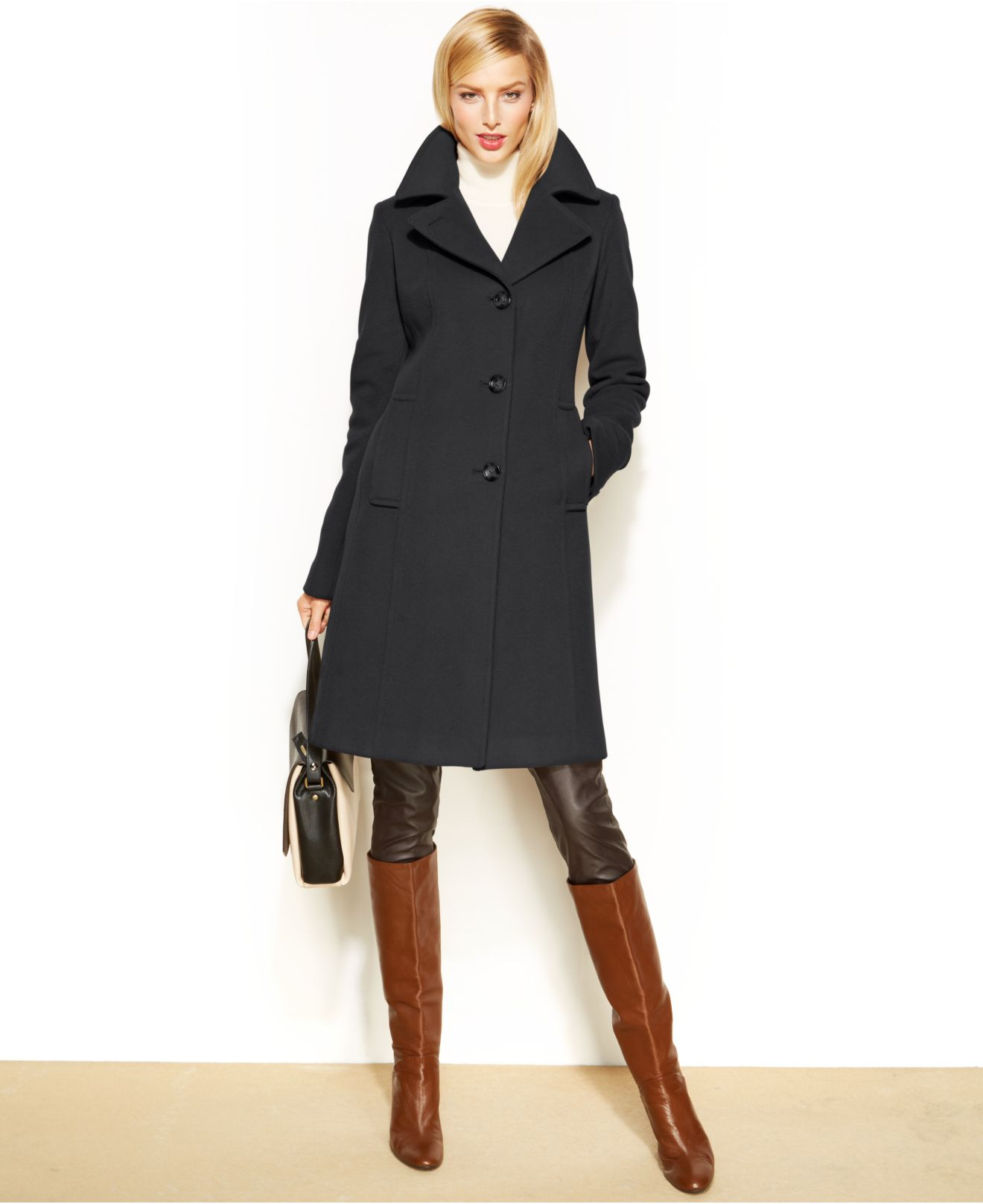Anne klein Wool-Cashmere-Blend Notched-Collar Walker Coat in Black ...