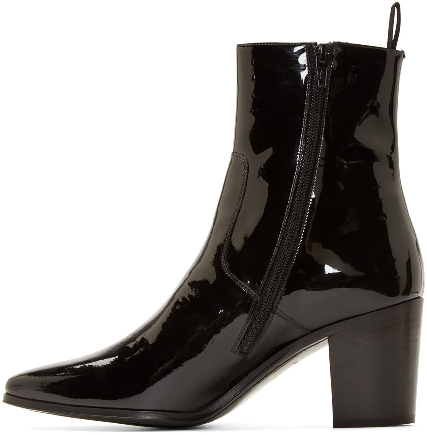 Lyst Saint Laurent Black Patent Leather French Boots In