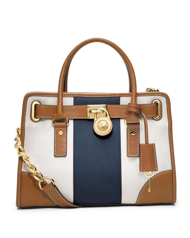 6fbbde78d ... uk lyst michael michael kors hamilton striped canvas satchel in brown  50a87 be007