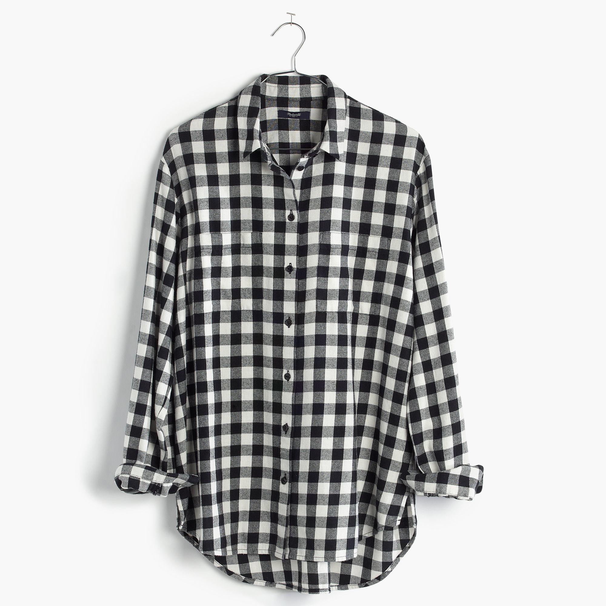 Madewell flannel oversized boyshirt in buffalo check in for Buffalo check flannel shirt jacket
