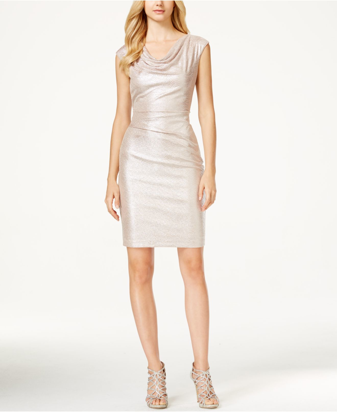 Cowl Neck Sheath Dresses: Vince Camuto Metallic Cowl-neck Sheath Dress In Pink