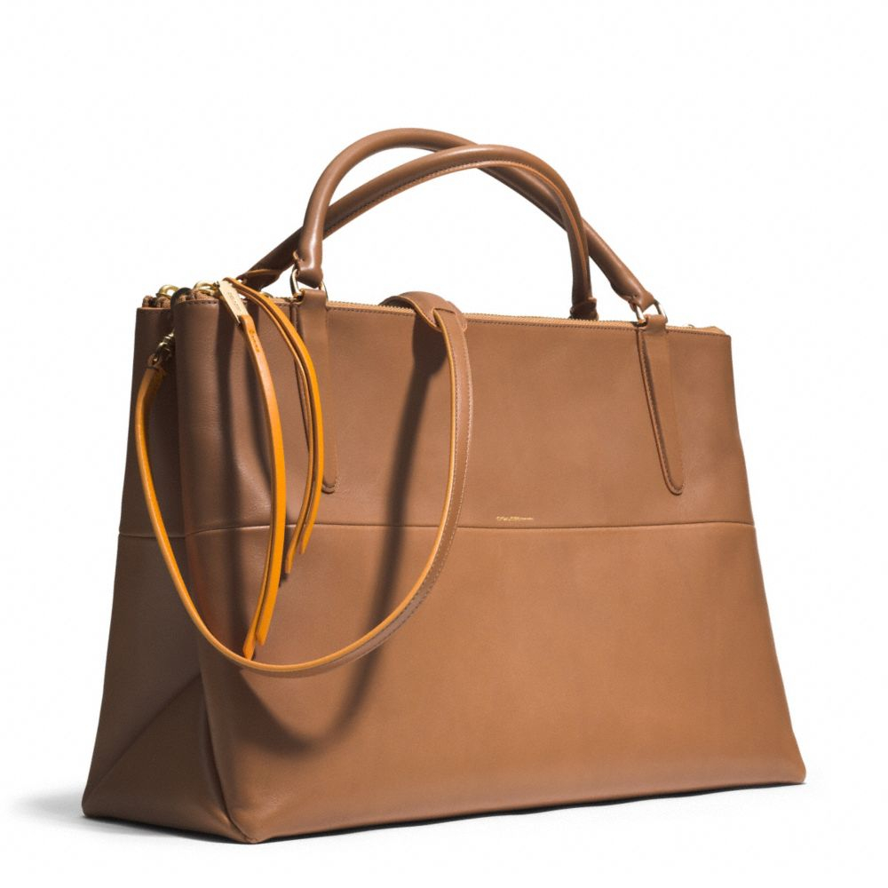coach the large borough bag in edgepaint leather in brown