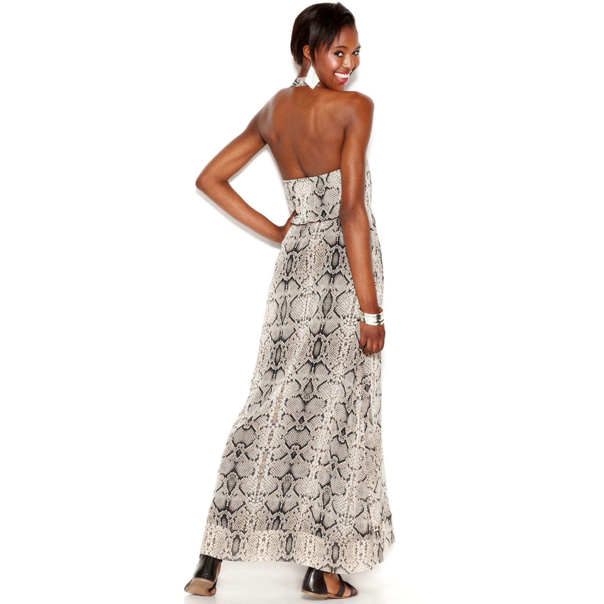 Jessica simpson Snakeskinprint Halter Maxi Dress  Lyst