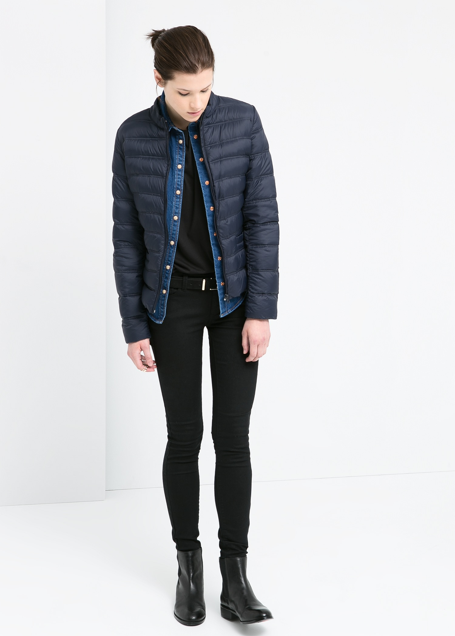 Mango Foldable Feather Down Jacket in Blue | Lyst