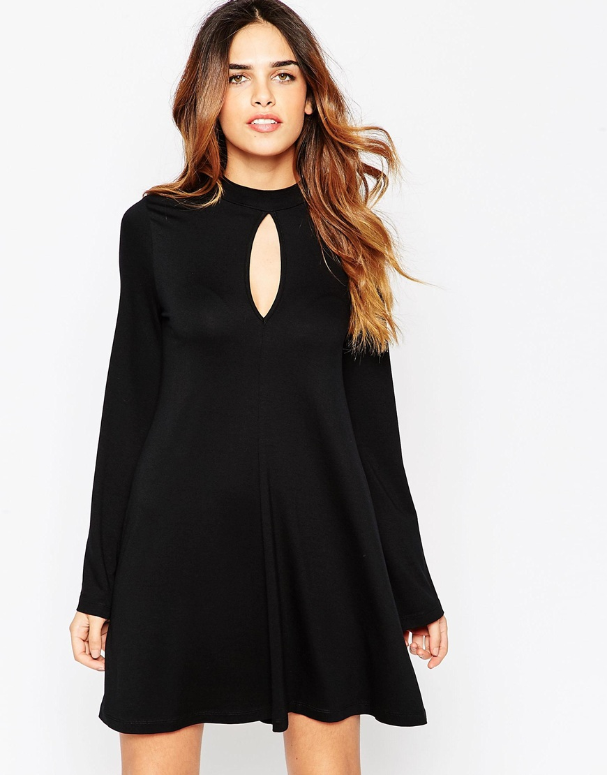 Lyst Asos Swing Dress With Flared Sleeve And Keyhole In