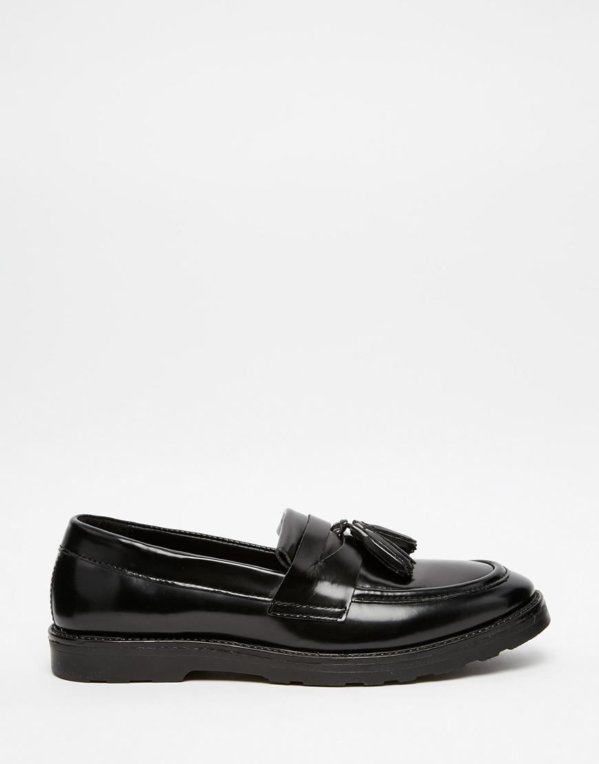 8219200f180 Lyst - ASOS Tassel Loafers In Black Leather in Black for Men