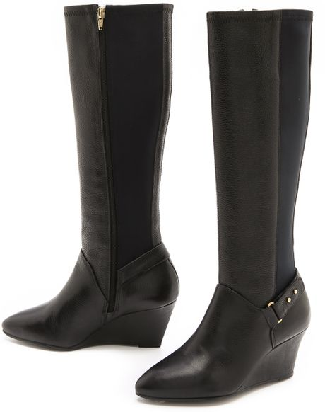 steven by steve madden jaden wedge boots in brown black