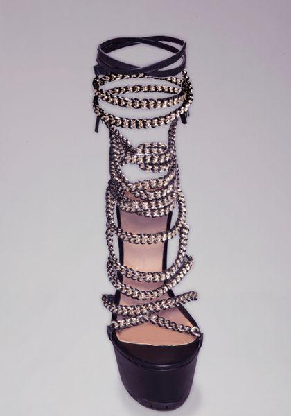 Bebe Nilufar Chain Wrap Sandals In Black Lyst