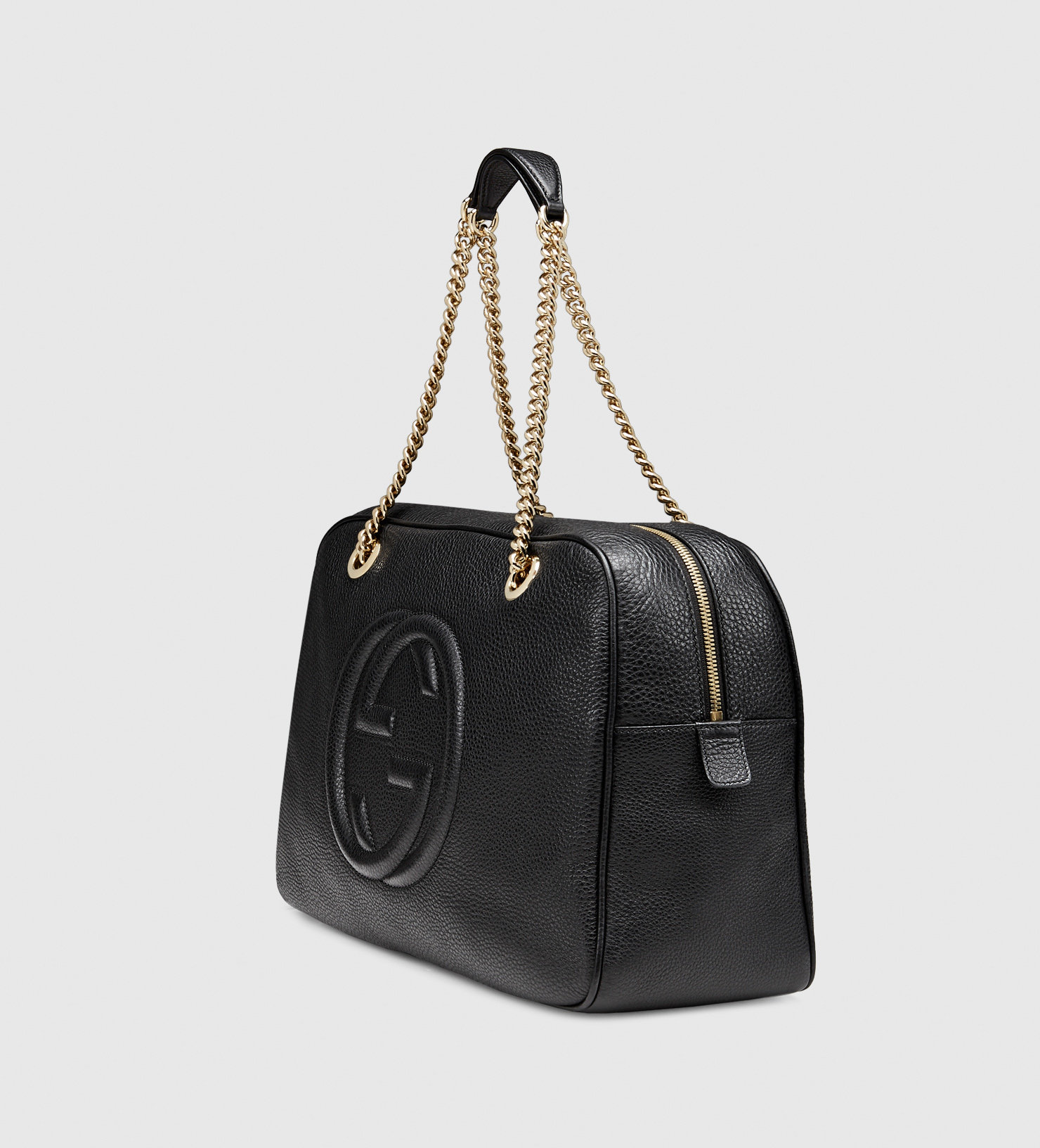 lyst gucci soho leather shoulder bag in black. Black Bedroom Furniture Sets. Home Design Ideas