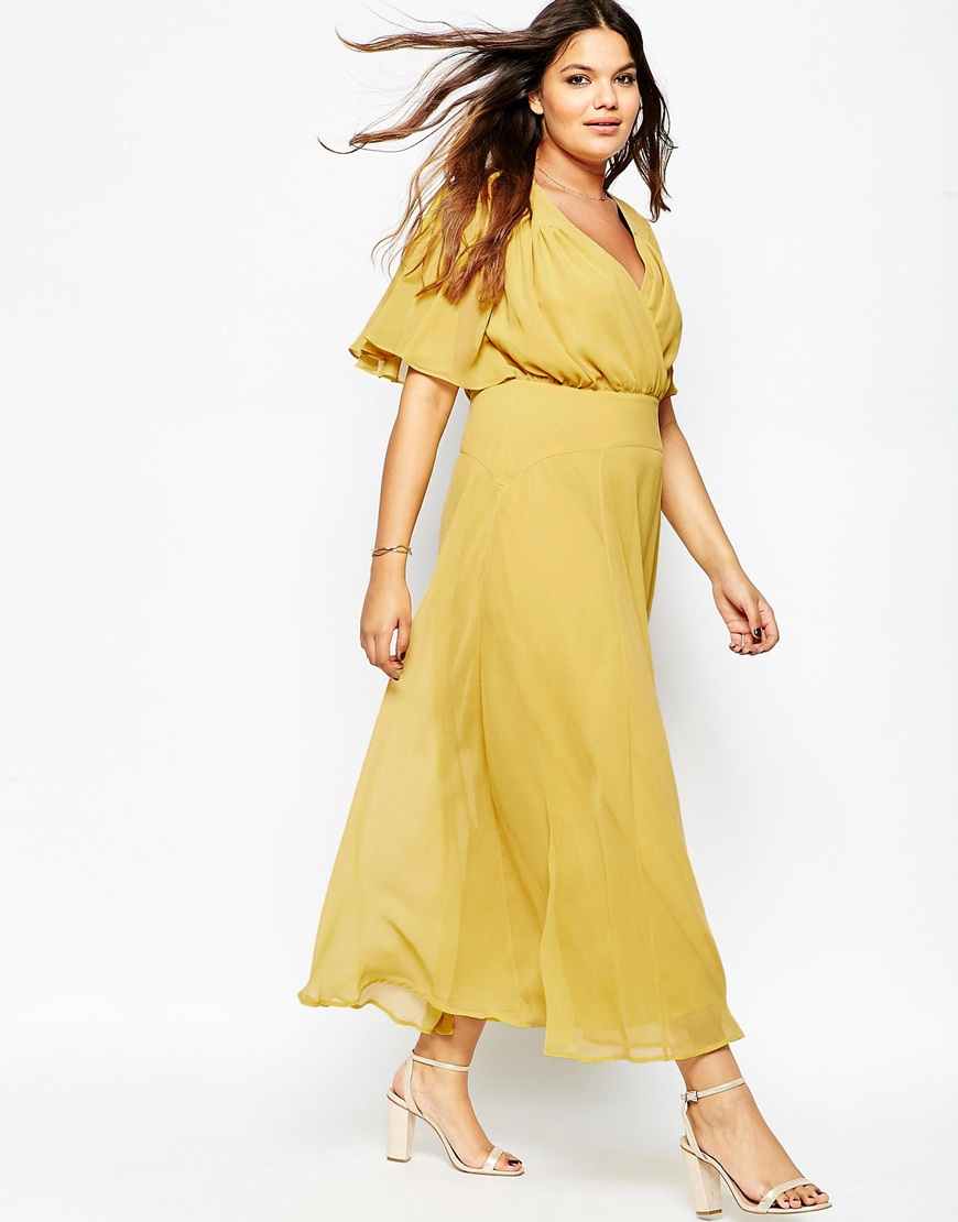 Asos Curve 70s Maxi Dress With Stitch Shoulder in Yellow | Lyst