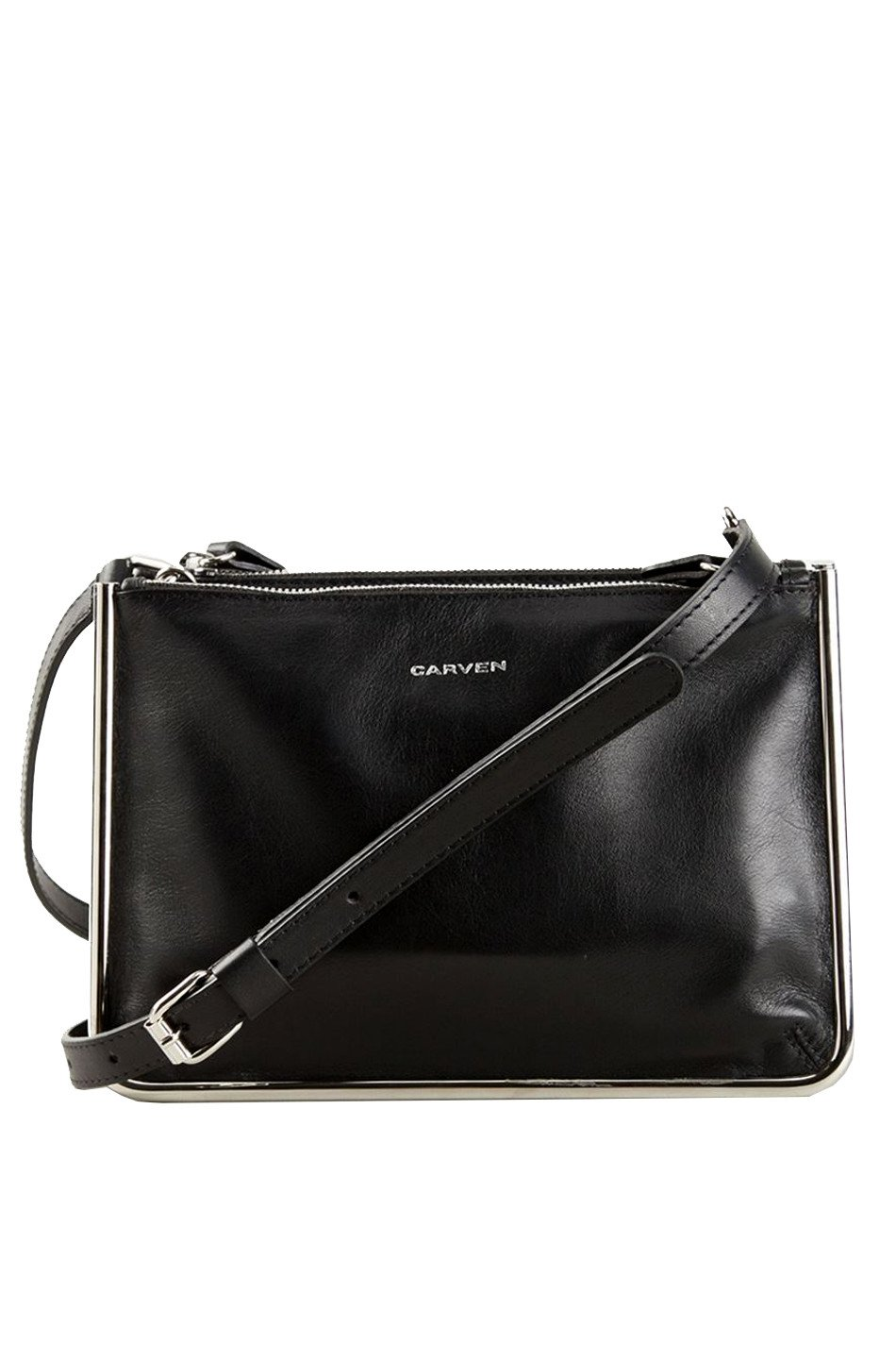 Carven Two Pocket Shoulder Bag in Black